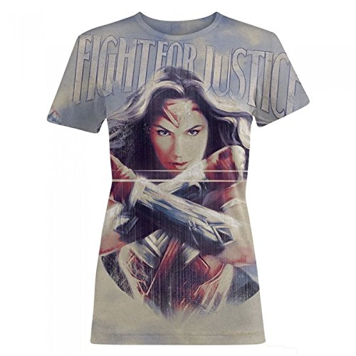 Wonder Woman Camiseta modelo Fight For Justice para mujer (Grande (L)/Gris)