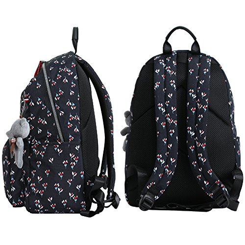 Mocha weir JIAYBL Laptop Backpack College Shoulders Bags Children School Book Bags Girls Travel Canvas Backpack (Small flowers)