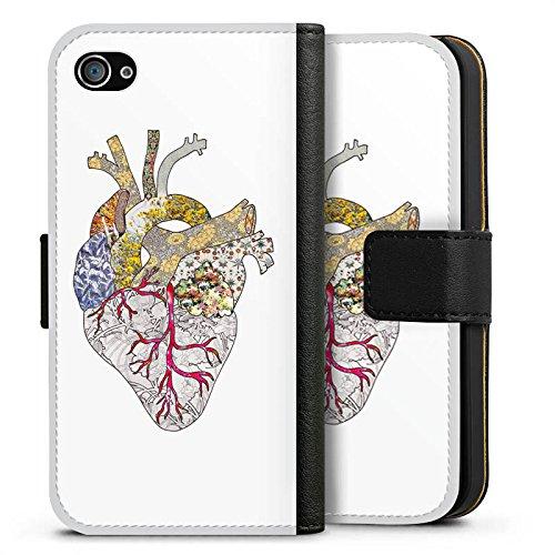 Apple iPhone X Silikon Hülle Case Schutzhülle Liebe Herz Heart Sideflip Tasche schwarz