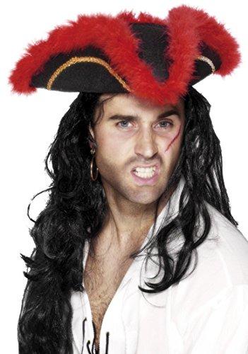Smiffys, Unisex Dreispitz Piraten Hut mit roten Federn und goldener Einfassborte, One Size, Schwarz, (Hut Feder Mit Piraten)