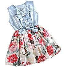Vestido de niñas ,❤ Manadlian Bebé Niña Flor Impresión Sin mangas Mezclilla Vestidos Vestido
