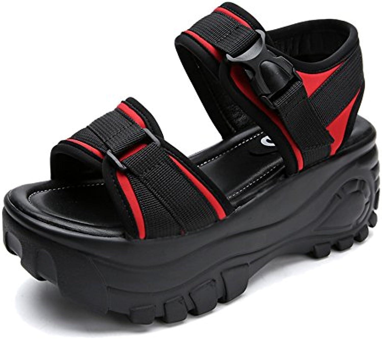 HAIZHEN Frauenschuhe 7 cm dicke Sandalen Weibliche Studenten Sommersandalen Römische Schuhe College Sportschuheö