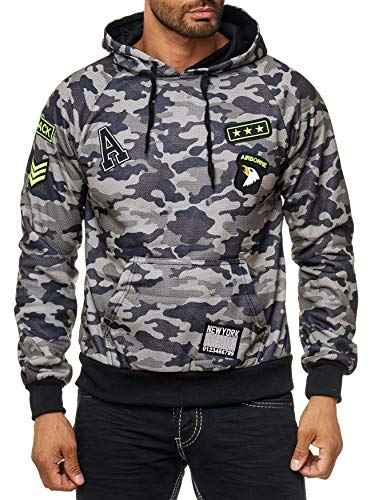 Herren Hoodie Camouflage Pullover Kapuze Muster H1994, Farben:Grün, Größe Pullover:XXL Camouflage Pullover Kapuze