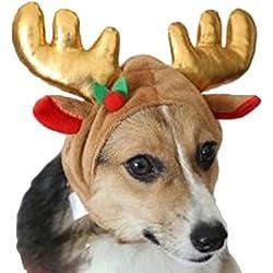 AIYUE Weihnachten Haustier Kostüm Hunde Rentier Elchgeweih Mütze Weihnachtsdekoration Winter Hut für Hunde und Katze