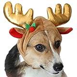 AIYUE Costume Animale Domestico Cane Gatto Cappello Cappellino Alce Renna con Corna Natale Cappuccio Felpa Caldo Inverno per Cucciolo Cani Cosplay