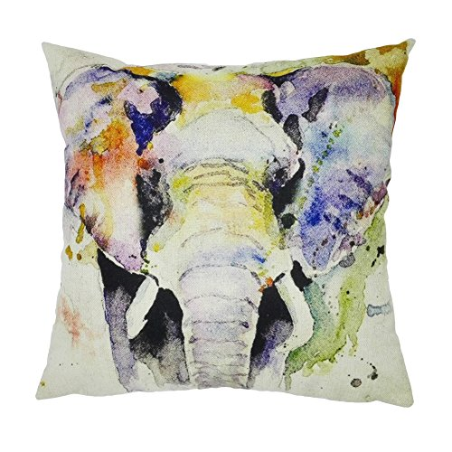 joielavie funda de cojín de cabeza de elefante nariz coloé Animal lino algodón mezcla cuadrado funda de almohada decoración sofá cama Home casa Sofa 45x 45cm