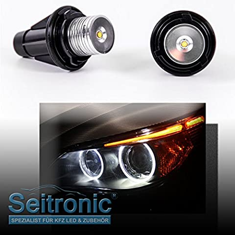Seitronic LED Angel Eyes Rings Beer Bar Strong 3Watt and Strength of Colour of Xenon White 7000Kelvin Burner Lights without error message with Long Life and Parking Light Use.