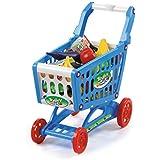 deAO Carrito de la Compra Infantil Incluye Variedad de 50 Productos de Mercado y Comestibles - En color AZUL