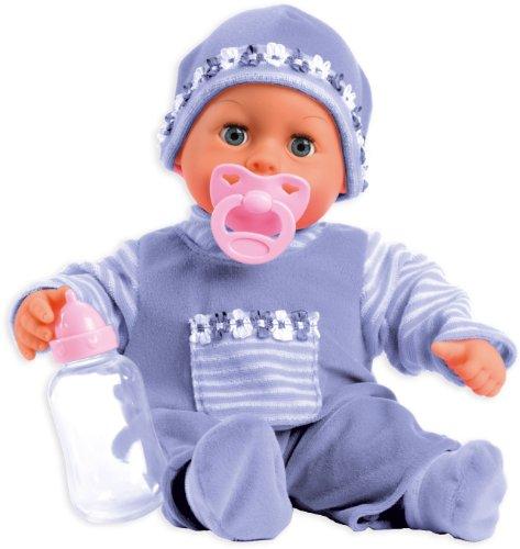 Bayer Design - Muñeca bebé 38 cm, Las Primeras Palabras, con chupete y botellín, color lila (93826AA)