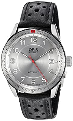 Oris Men's 36mm Black Calfskin Band Steel Case Automatic Watch 73376714461ls