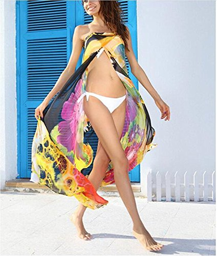 L-Peach Damen Boho Sommer Chiffon Strandtunika Strandkleid Sommerkleider Strandhemd Bademode Bikini Cover Up Lose One Size Gelb