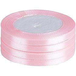 100 yardas Cinta de Raso Satén Seda Rosa Claro 6mm para Embalaje Decoración de Regalo Cajas Flores Boda Navidad (Rosa claro-6mm*91m(100 yardas))