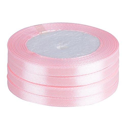 91m*6mm Nastro Raso Rosa Nastrini Poliestere Decorativo per Fai da Te Regalo Matrimonio Bomboniere