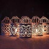display08 della cavità di Modo Candeliere Tealight Appendere Gabbia di Uccello Lanterna dell'Annata del Metallo di Cerimonia Nuziale Decorazione della Tavola di Casa G