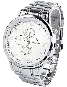 SODIAL (R) Legierung runde Analoge Quarz-Armbanduhr (Silber Armband & weiss Zifferblatt)