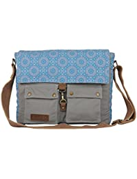 Almolfa Padded Cotton Canvas Laptop Messenger Bag With Printed Flap For 15 Inches Laptop Bags Sling Messenger...