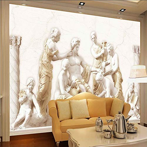 Qwerlp Benutzerdefinierte Fototapete 3D Europäische Römische Statuen Kunst Wandbild Wohnzimmer Retro Sofa Hintergrund 3D Tapete Wandbild Wandbild-150X120CM