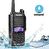 Wasserdichte Funkgeräte, Waltalkie VHF UHF Dualband Zweiwege Funkgerät Reichweite bis zu 5KM 128 Kanäle wiederaufladbare Handfunkgeräte, IP66 wasser- & staubgeschützt für Innen- & Außengebrauch - Schwarze Funkgeräte mit integrierter LED Taschenlampe