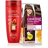 L'Oreal Paris Casting Creme Gloss Hair Color (Dark Brown 400) & Color Protect Shampoo, 87.5g + 72ml and 192ml (352ml) (Pack of 2)