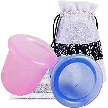 2 Coppette Colorate in Silicone per Terapia Massaggi + Zainetto a Spalla + Istruzioni Dettagliate, Coppette Anti-Cellulite, Drenaggio Linfatico e per Sollievo da Dolori Muscolari