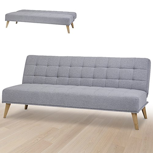 Bakaji divano letto clic clac 3 posti struttura in legno rivestimento in tessuto trapuntato imbottito piedini letto a scomparsa dimensione 180 x 86 x 81 cm (grigio chiaro)