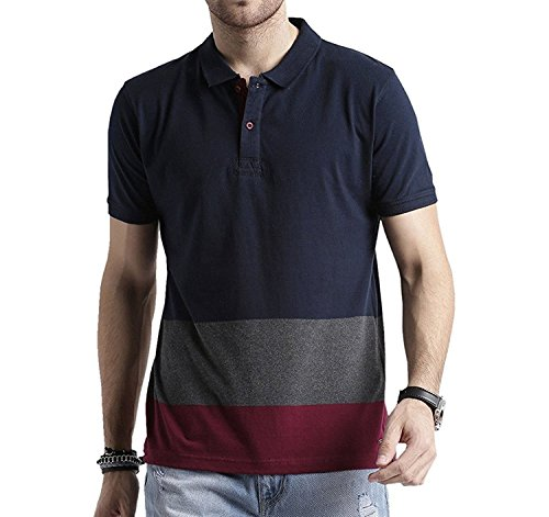 Men's Polo Stripes T-Shirt Navy Blue-Grey & Maroon T-shirt Party wear (men's polo collar stripes t-shirt for Men's Jeans Men's Jeans function T-shirt for Men's 18 years latest mens wear Collar T-Shirt collection 2017 new design Shirts for Men's designer T-Shirts & Polos new collection today low price new T-Shirt for Men's party wear) 202 (X-Large)  available at amazon for Rs.299