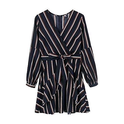 WooCo Gestreiftes Rüschen-Minikleid für Damen und Mädchen, Lässiges, formelles Langarm-Hemdkleid für das Arbeitsgeschäft - Sommer Sale(Marineblau,M)