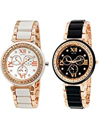 Horse Head Analogue Black and White Dial Watch for Women/Girls (Set of 2)