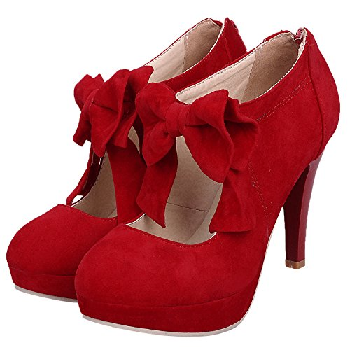 Damen Pumps HooH Wildleder Bowknot Platform High Heel Reißverschluss Mary Jane Stiletto Wedding Pumps Rot 38 EU