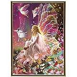 Diamond painting fai da te 5D, pittura con i numeri con immagine di regina delle fate sul fiore, ricamo a punto croce interamente con strass, decorazione su tela fai da te da parete, 30 x 40 cm