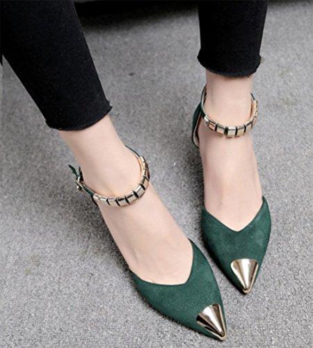 Sommer Sandalen Baotou Sandalen und Pantoffel wiesen hochhackige Sandalen mit dicken Schuhen Green