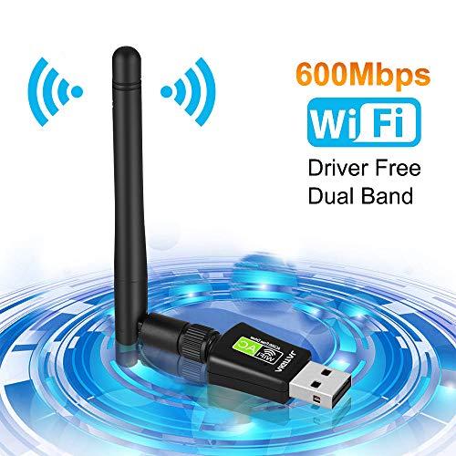 Aigital WiFi Adapter 600Mbits WLAN USB Stick Dual Band mit 5dBi Antenne(Keine CD Treiber) Drahtlos Netzwerk Dongle WLAN Empfänger für PC/Laptop/Notebook/Desktop unterstützt Windows 10/8.1/8/7/Vista