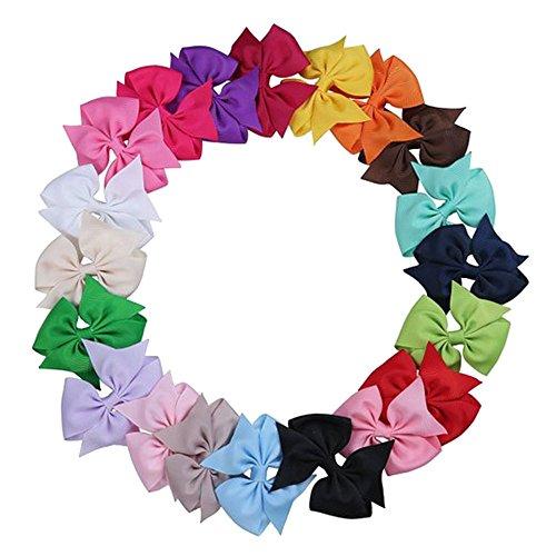 Contever® 20 Pcs Bows Haarspangen Haarspange Hair Girls Clip Grosgrain Ribbon Haar Krokodilklemmen