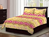 #3: Bombay Dyeing Cardinal 100% Cotton Double Bedsheet with 2 Pillow Covers- With Beauthiful Floral Printed Design Yellow And Pink Color TC-104