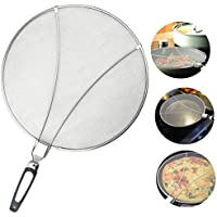 Bystep Splatter Screen Splash Stainless Steel Non-Stick Splatter Screen Splash Guard with Silicone fold Handing Practical Kitchen Frying Pan Oil Proofing Lid