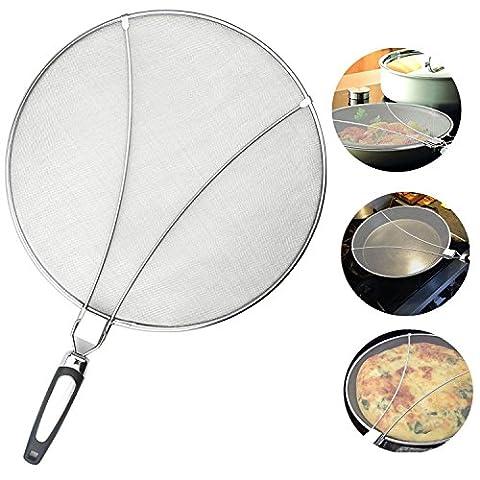 Bystep Protecteur d'écran Splatter en acier inoxydable avec pli en silicone. Entretien pratique Cuisine Friteuse Couvercle anti-huile