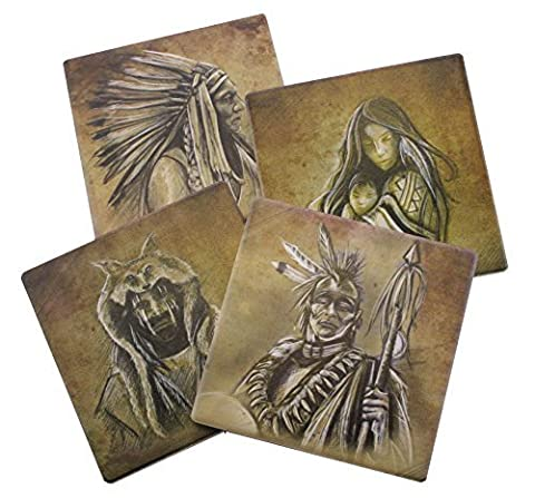 Native American Beverage Coaster Set of 4   Old Western and Indian Themed Decorative Tabletop Pieces by DWK