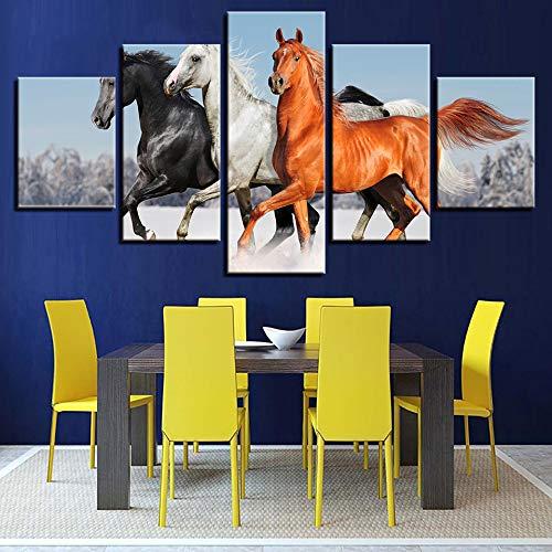 adgkitb canvas Gerahmte Hauptwanddekor Kreative Modische Tier Pferd Fünf Stücke Leinwand Drucke Malerei Moderne Raumkunst Für Wohnzimmer KEIN Rahmen -