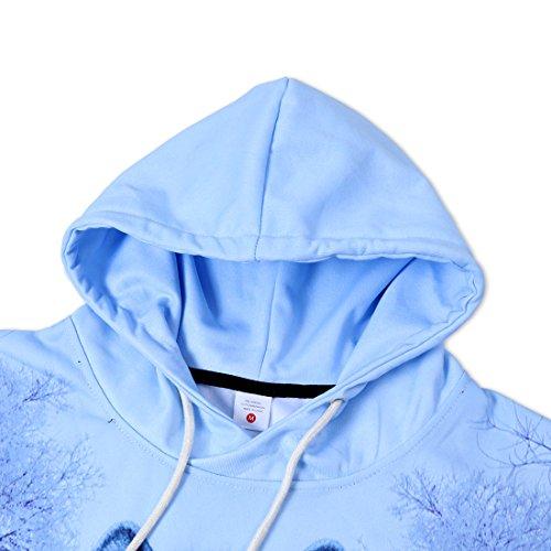 uideazone Unisex Wolf Langarm Kapuzenpullover Hoodie Sweatshirt mit Kängurutasche für Männer und Frauen AWolf-3