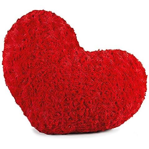 Dekokissen Herz 40x25 cm, Plüsch Sofakissen, kuscheliges und dekoratives Herzkissen, Zierkissen Rose rot CelinaTex 5001388