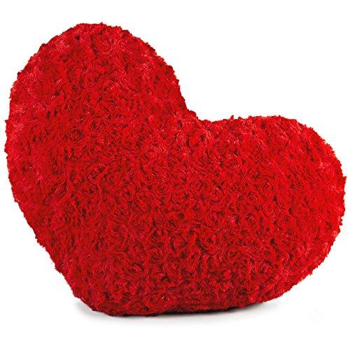 Dekokissen Herz 40x25 cm, Plüsch Sofakissen, kuscheliges und dekoratives Herzkissen, Zierkissen Rose rot CelinaTex 5001388 (Herz Fransen)