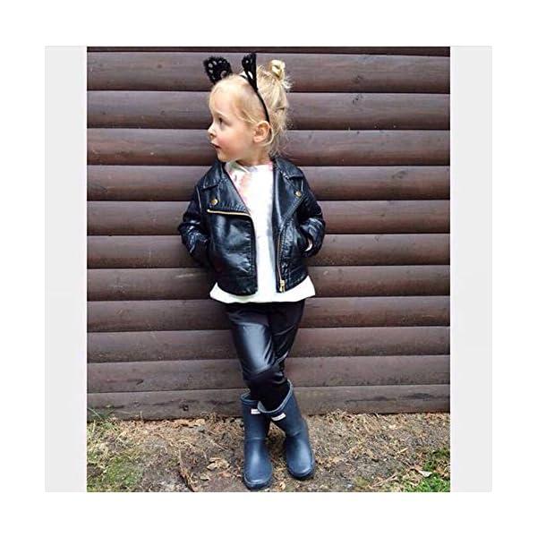 JiaMeng Ropa de Chaqueta Corta de Abrigo de Cuero para niños bebé Outwear de Viento de Imitación de Piel 3