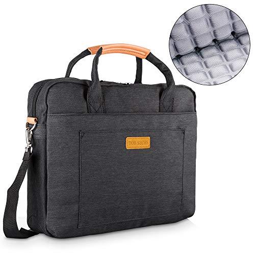 DOB SECHS 15-15.6 Zoll Laptoptasche Aktentaschen Handtasche Tragetasche Schulter Tasche Notebooktasche Laptop Sleeve Laptop hülle für bis zu 15-15.6 Zoll Laptop Dell/MacBook/Lenovo/HP,Schwarz Laptop Dual Tasche