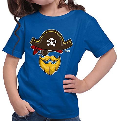 (HARIZ  Mädchen T-Shirt Pirat Kostüm Karneval Kostüm Inkl. Geschenk Karte Royal Blau 116/5-6 Jahre)