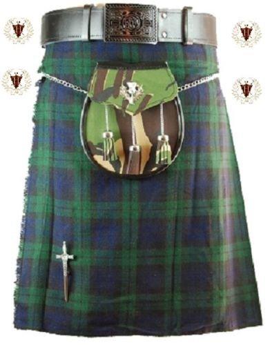 Nero Orologio 4,6m 10oz tradizionale da uomo Highland Kilt scozzese Green 32W Regular