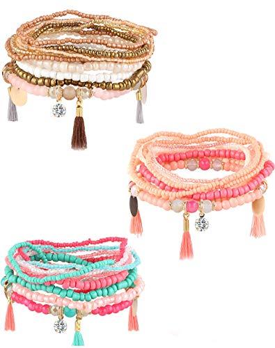 Milacolato 3Set Perle Mala Wrap Armband für Frauen Mädchen Multilayer Böhmen Stapelbare Armbänder