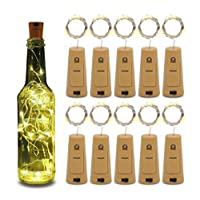 10pcs Wine Bottle Lights 20LEDs Cork Bottle Lights with Screwdriver Battery Operated Wine Cork Lights String Lights for Party Wedding Christmas Halloween Bar Lamp Decor,Warm White zy