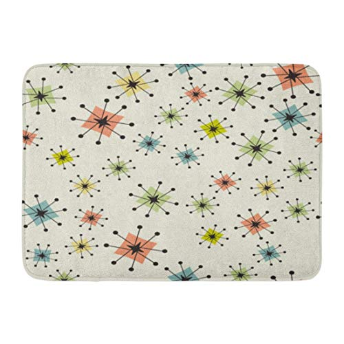 NNMAW Doormats Bath Rugs Outdoor/Indoor Door Mat Vintage Atomic Stars Retro Pattern on of Boomerangs Are Grouped So You Them Independently from The Bathroom Decor Rug 23.6x15.7 inch