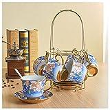 TAOTINGYAN Espressotassen Set Aus Porzellan 6 Tassen, 6 Untertassen, 6 Löffel, 1 Tassen Kaffee Mit Einem Keramik Tasse Kaffee Tasse Schwarzen Tee Becher, Drei