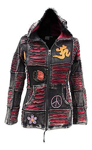 Shopoholic Mode Damen OM Frieden spitz mit Kapuze Gothik Damen ausser - Rot, L -